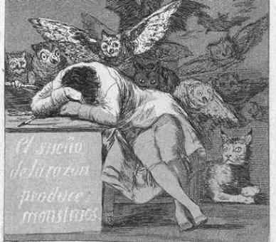 Francisco de Goya<br /> Cap. Blatt 43: Der Traum der Vernunft gebiert Ungeheuer (Detail), um 1799 <br /> © Morat Institut, Freiburg